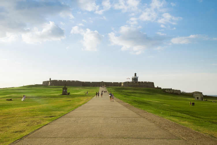 Walking up to Castillo San Felipe del Morro in San Juan, Puerto Rico