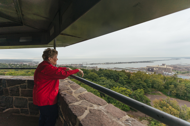 Taking in views of Duluth, Minnesota, from Enger Tower