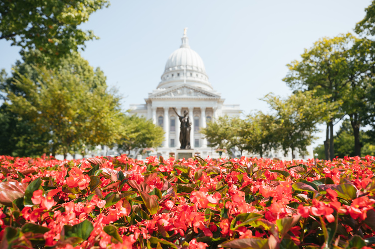 Flowers outside the Wisconsin State Capitol building in Madison