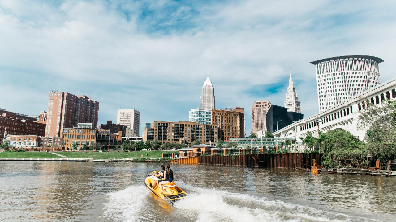 Jet-skiing on Lake Erie in Cleveland, Ohio