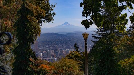 View of Mount Hood and Portland, Oregon