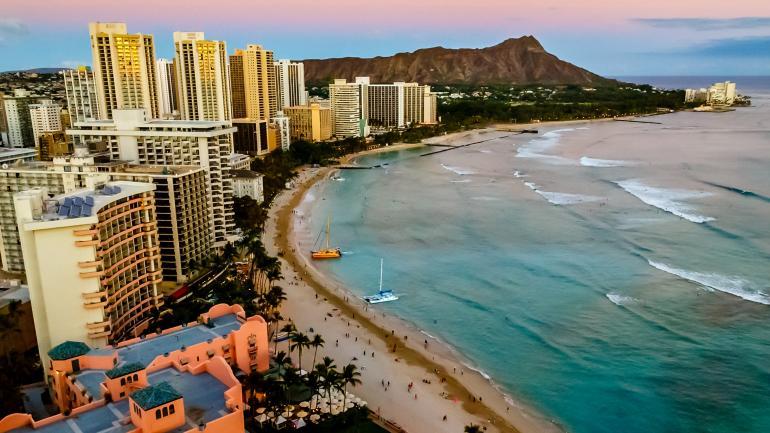 Waikiki Beach Surrounded By Stylish Hotels Restaurant S And Diamond Head