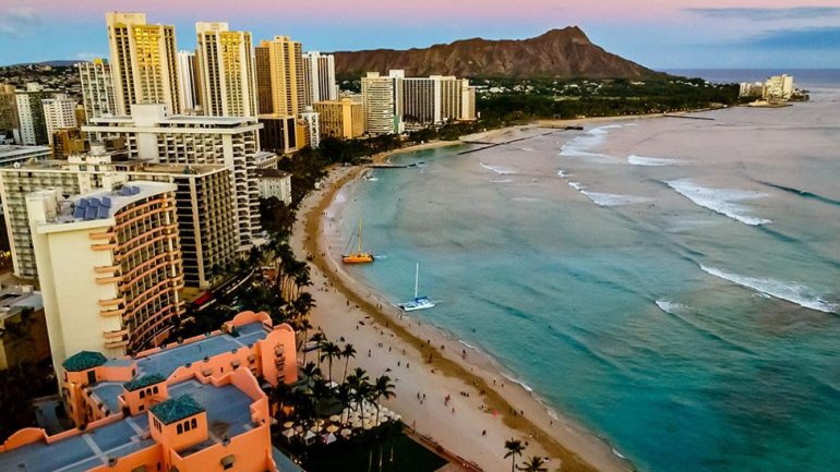 Diamond Head Soars Above The Beaches Of Honolulu Hawaii