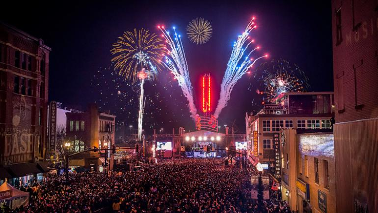 Crowds Gather For The Fireworks At Midnight In Nashville