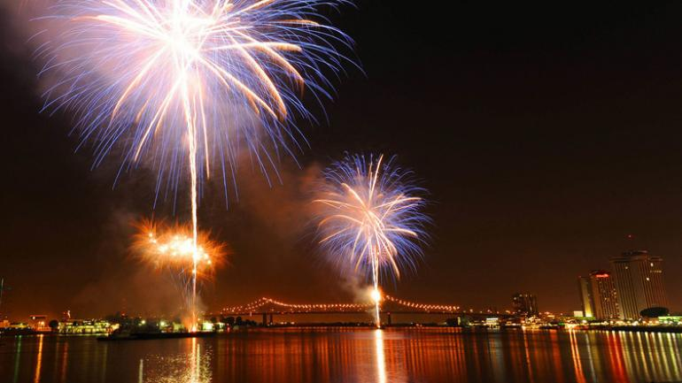 Perfect Fireworks Over The Mississippi River In New Orleans