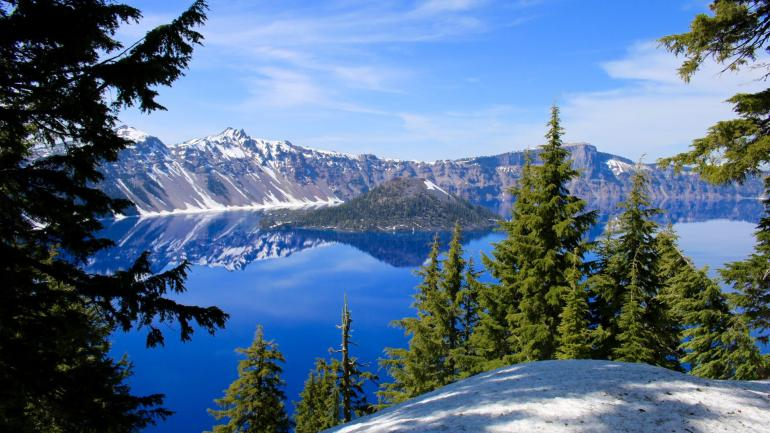 A view of Wizard Island at Crater Lake National Park