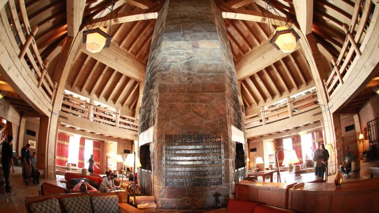 The fireplace in the lobby of the Timberline Lodge
