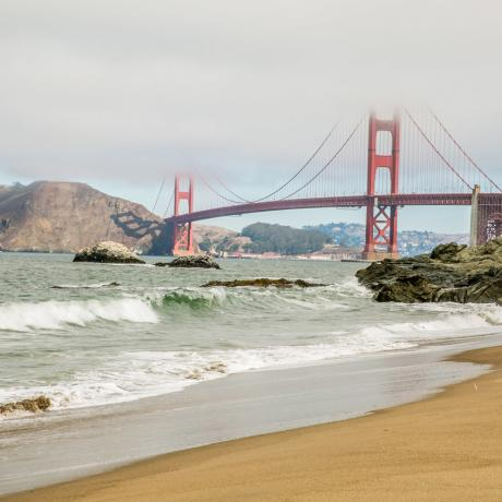Views of the Golden Gate Bridge from Baker Beach in San Francisco, California