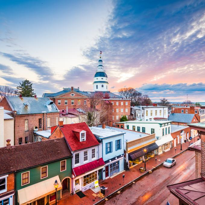 A colorful street scene in Annapolis, Maryland