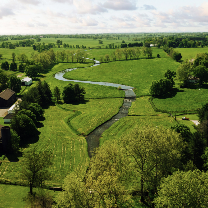 Aerial view of a Kentucky horse farm
