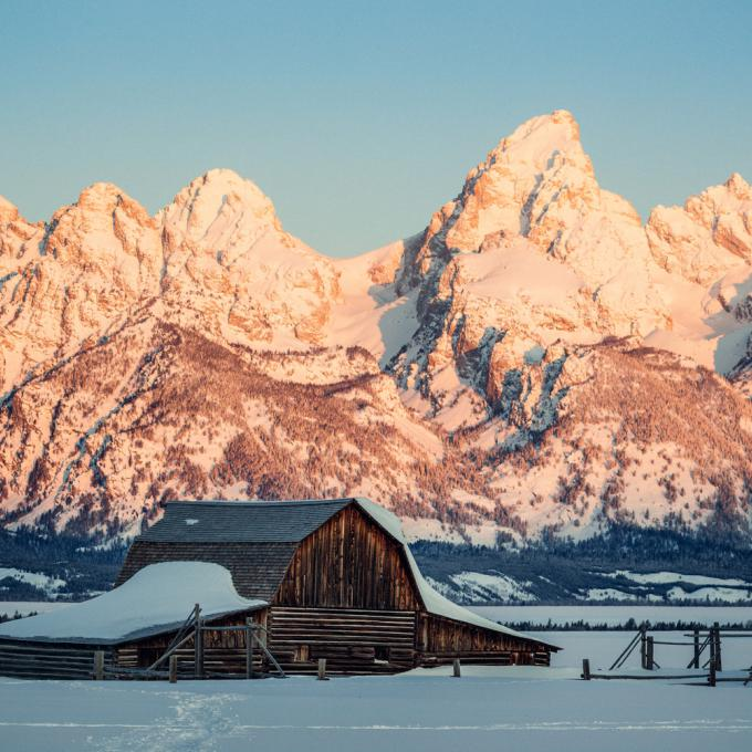 A snowy scene near Grand Teton National Park in Wyoming