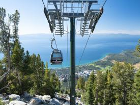 The Heavenly Mountain Gondola over looking Lake Tahoe
