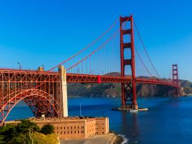 A view of the Golden Gate Bridge from The Presidio in San Francisco, California
