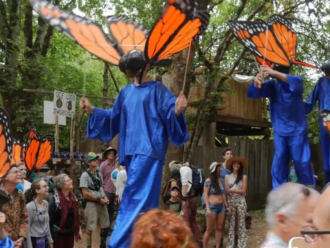 Parading through the Oregon Country Fair in Eugene