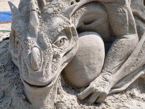 Sand sculpture created during Virginia Beach's Neptune Festival