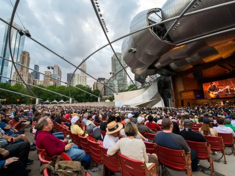 Watching a Blues Festival performance at Jay Pritzker Pavilion in Millennium Park