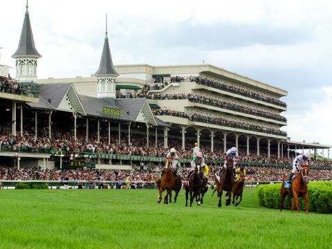 Horse race at Churchill Downs during the Kentucky Derby in Louisville