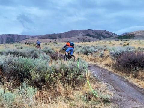 Mountain biking during the Pocatello Fall Ultra in Idaho