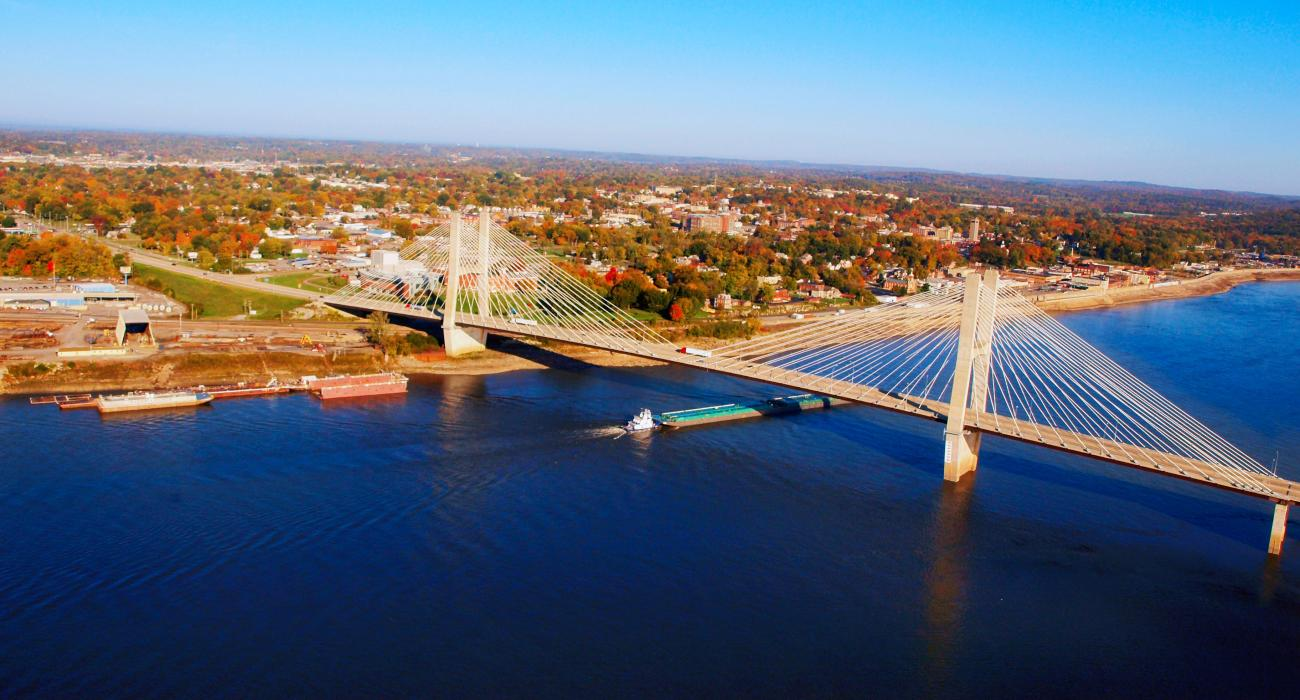 The Bill Emerson Memorial Bridge Stretching Over The Mississippi River