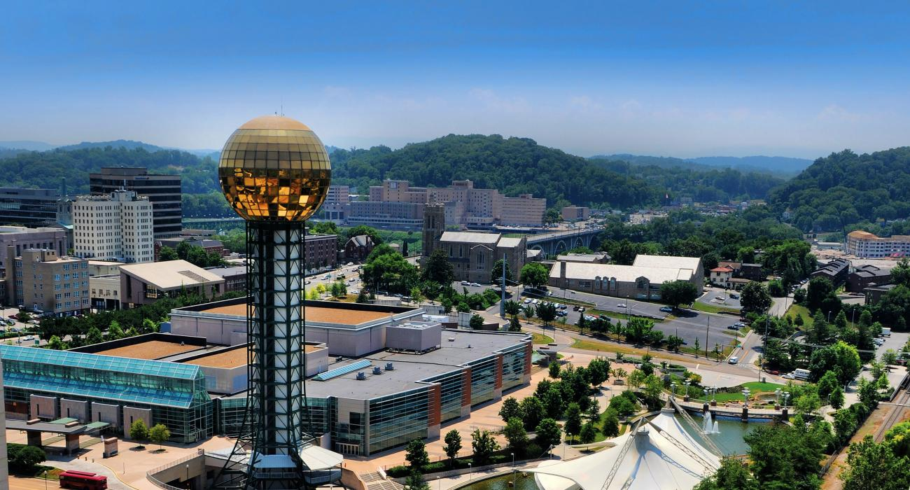 the sunsphere built for the 1982 worlds fair towering over downtown