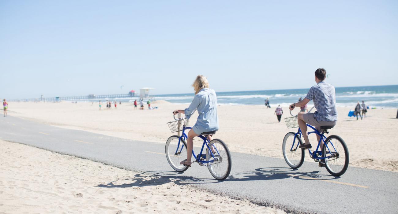 Biking Along The Beach In Surf City Usa
