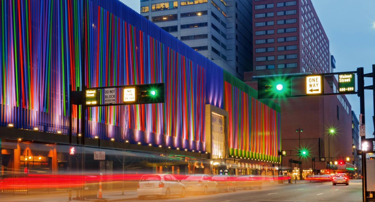 Multicolored lights illuminating a downtown office building  sc 1 st  Visit The USA & Cincinnati Ohio: Museums Festivals and Riverfront Attractions azcodes.com