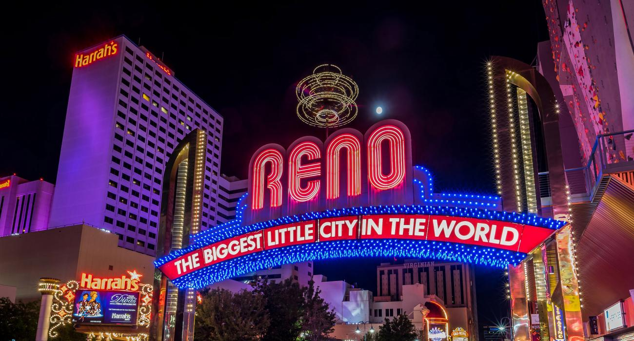 Downtown Greeting With Neon Reno Arch Stretching Across Virginia Street