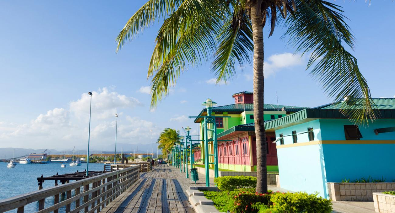 Vibrant Colors Of The La Guancha Boardwalk Along Caribbean Sea