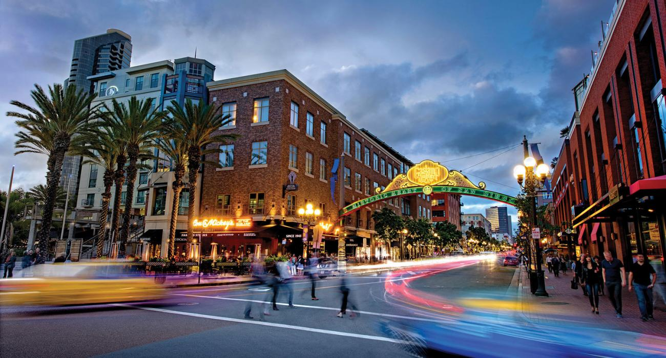 The historic Gaslamp Quarter of San Diego, the city's nightlife and cultural epicenter