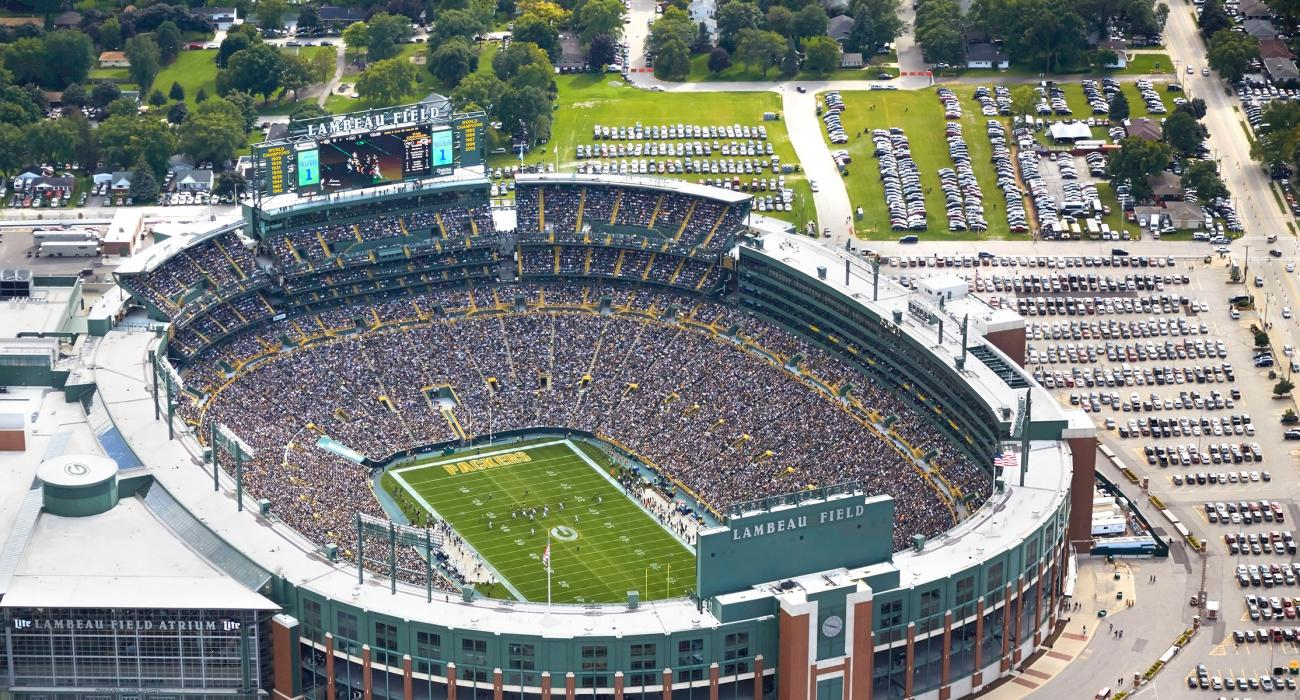 innovative design ea763 a866d Aerial view of Lambeau Field, home of the Green Bay Packers