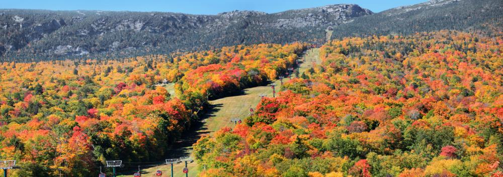 Autumnal colors frame a gondola on Mount Mansfield in Stowe, Vermont