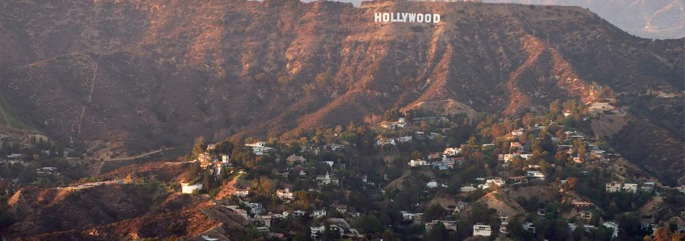 The Hollywood sign in the hills of Hollywood, California