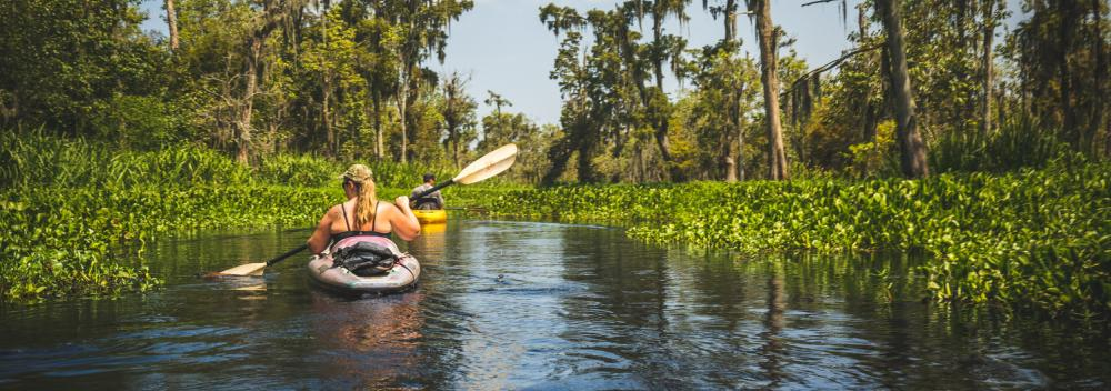 Kayaking on a swamp tour near New Orleans, Louisiana
