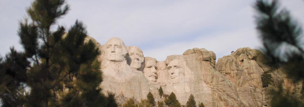 Presidential faces of Mount Rushmore in South Dakota