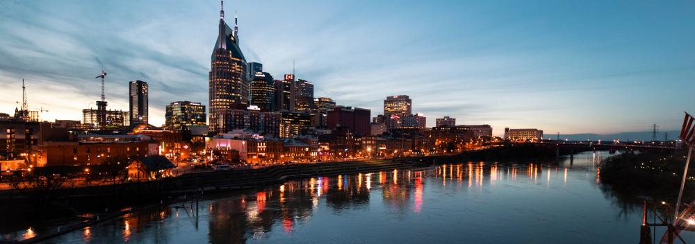 The Cumberland River cutting through downtown Nashville, Tennessee