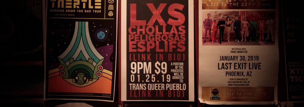 Flyer advertising a show from Phoenix band Las Chollas Peligrosas