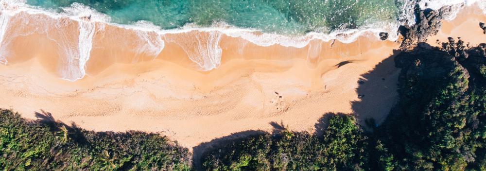 Aerial view of a secluded beach in Puerto Rico