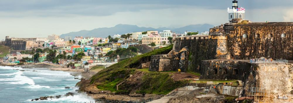 View of Castillo San Felipe del Morro and La Perla neighborhood in San Juan, Puerto Rico
